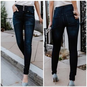 Denim - High Rise Button Front Skinny Jeans in dark wash!.